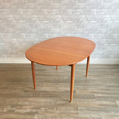 Danish Modern Oval Teak Dining Table With 2 Leaves By Soro Stolefabrik