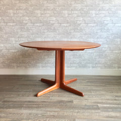 Danish Modern Round Extending Dining Table In Teak