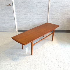 Danish Modern Surfboard Style Teak Coffee Table