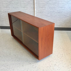 Danish Modern Teak Bookcase Media Cabinet With Glass Doors