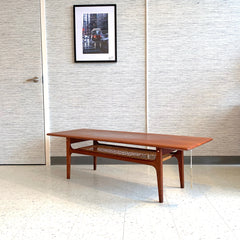 Danish Mid-Century Teak Coffee Table With Cane Shelf By Trioh