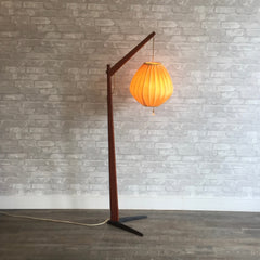 Danish Modern Teak Floor Lamp with Original Beehive Shade