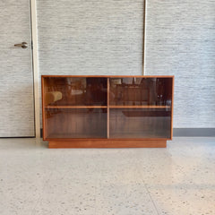 Danish Modern Teak Media Cabinet With Glass Doors