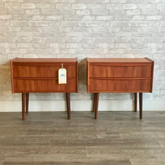 Danish Modern Teak Side Tables with Two Drawers