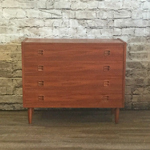Low Danish Mid-Century Teak 4 Drawer Chest