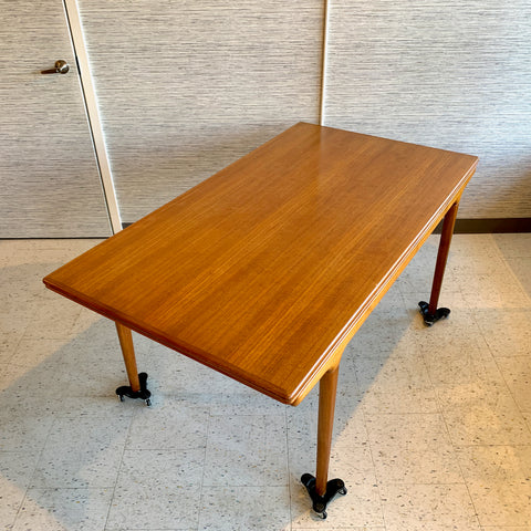 Early Danish Modern Teak Draw Leaf Dining Table By Johannes Andersen