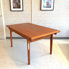 Elegant Danish Modern Teak Extending Dining Table