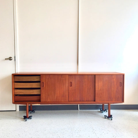 Elegant Danish Mid-Century Teak Sideboard With 4 Doors