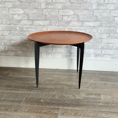 Elegant Danish Modern Round Teak Tray Table For Fritz Hansen