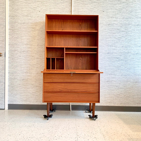 Elegant Danish Modern Teak Secretary Desk Or Bookcase