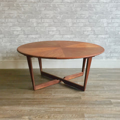 Elegant Mid-Century Modern Round Teak Sunburst Coffee Table