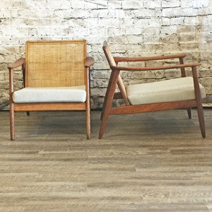 Mid Century Teak Armchair with Cane Back By Folke Ohlsson for Dux