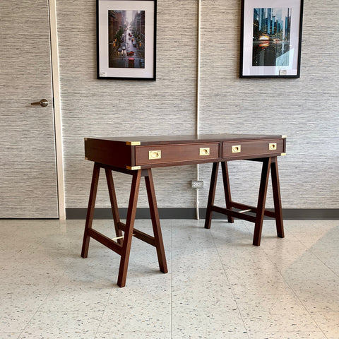 French Mid-Century Walnut And Mahogany Campaign Desk