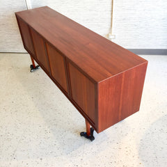 German Mid-Century Teak And Rosewood Sideboard With 4 Doors