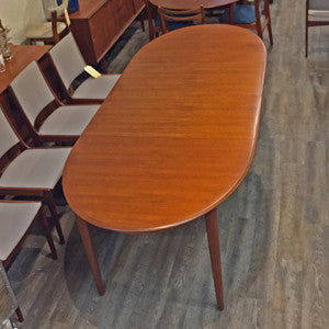 Mid Century Danish Teak Extending Oval Dining Table - Vintage Home Boutique - 6