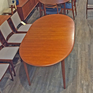 Mid Century Danish Teak Extending Oval Dining Table - Vintage Home Boutique - 4