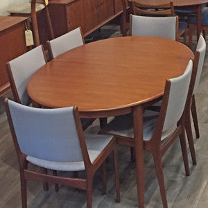 Mid Century Danish Teak Extending Oval Dining Table - Vintage Home Boutique - 1