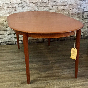 Mid Century Danish Teak Extending Oval Dining Table