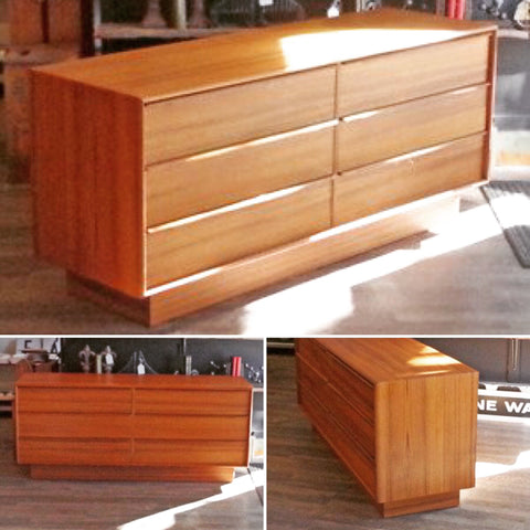 New Old Stock Danish Mid Century Teak 6 Drawer Dressers - Vintage Home Boutique - 1