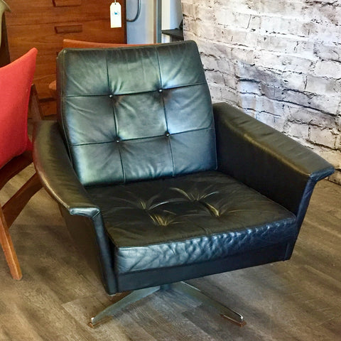 Pair of Eames styled Black Leather Swivel Lounge Chairs