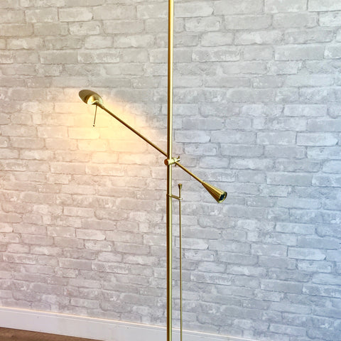 Italian Mid-Century Brass Floor Lamp With Articulating Arm