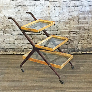 Mid Century Italian 3 Tier Bar Cart with Removable Trays By Cesare Lacca