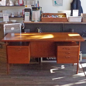 Kai Kristiansen Danish Teak Executive Desk with Bookshelf