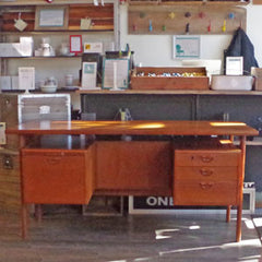 Kai Kristiansen Danish Teak Executive Desk with Bookshelf - Vintage Home Boutique - 1