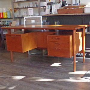 Kai Kristiansen Danish Teak Executive Desk with Bookshelf - Vintage Home Boutique - 5
