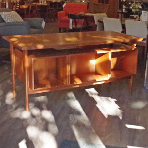 Kai Kristiansen Danish Teak Executive Desk with Bookshelf - Vintage Home Boutique - 3