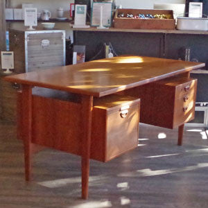 Kai Kristiansen Danish Teak Executive Desk with Bookshelf - Vintage Home Boutique - 2