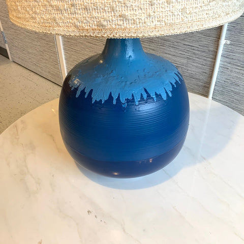Large Cobalt Blue Mid-Century Modern Ceramic Table Lamp With Original Shade