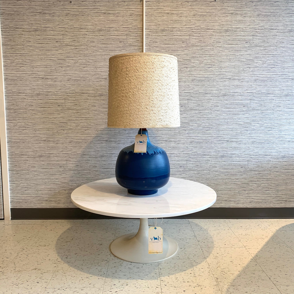 Image of: Large Cobalt Blue Mid Century Modern Ceramic Table Lamp With Original