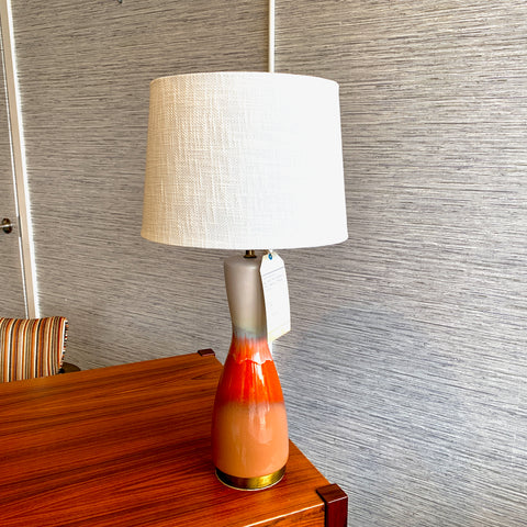 Large Danish Modern Ceramic And Brass Table Lamp