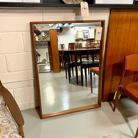 Large Mid-Century Teak Mirror With Bullnose Edge