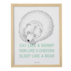Eat, Run, Sleep Large Bear Framed Print - Vintage Home Boutique
