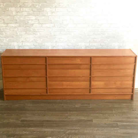 Large Danish Mid Century Teak 9 Drawer Dresser