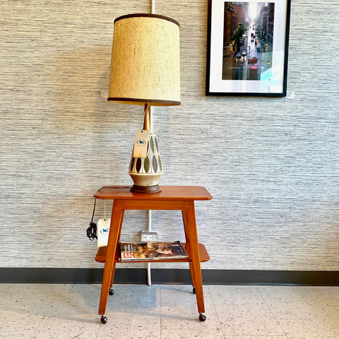 Large Mid-Century Modern Walnut And Ceramic Table Lamp
