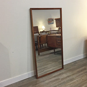 Large Mid Century Solid Walnut Floor Mirror