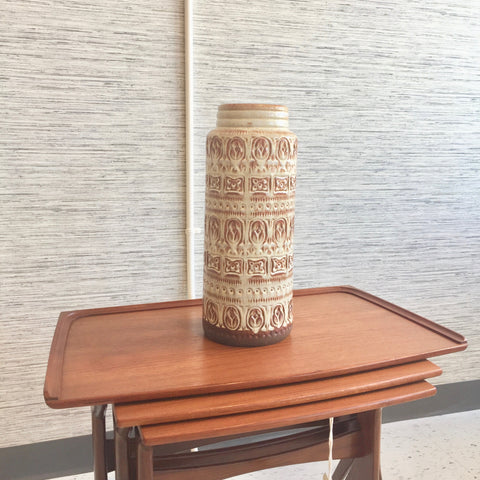 Large West German Brown And Beige Vase