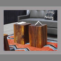 Live Edge Walnut Cube Side Table - Vintage Home Boutique - 1