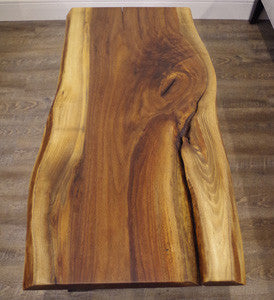 Large Walnut Live Edge Coffee Table with Cracking - Vintage Home Boutique - 4