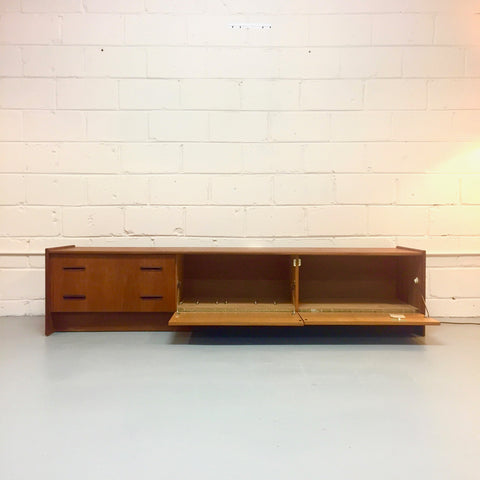Long And Low Mid-Century Teak Media Cabinet