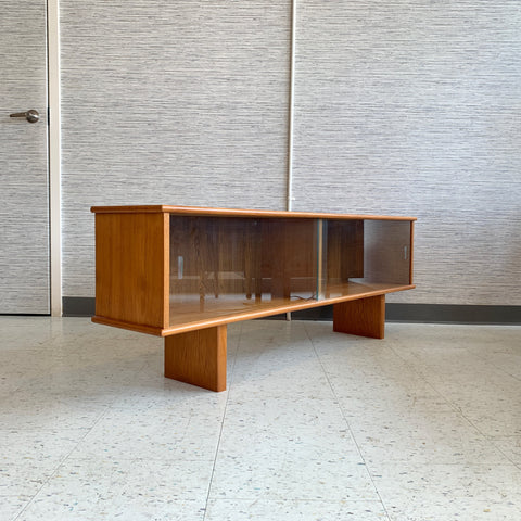 Low Danish Modern Teak Console Or Media Cabinet By Knud Nielsen