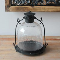 Metal and Frosted Glass Candle Holder - Vintage Home Boutique