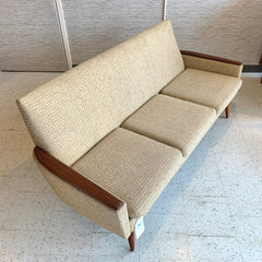 Mid-Century Modern 3 Seat Sofa With Teak Armrests