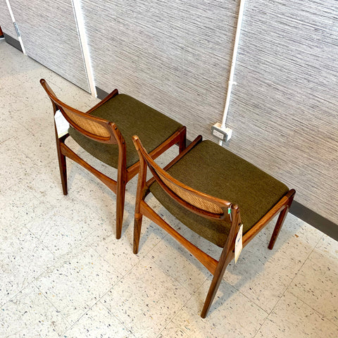 Mid-Century Cane Back Dining Chairs by Ib Kofod Larsen