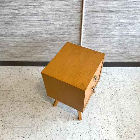 Compact Mid-Century Modern Maple Side Table With 2 Drawers