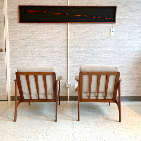 Mid-Century Modern Solid African Teak Lounge Chairs By R Huber