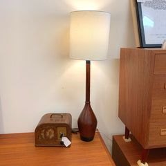 Mid-Century Modern Teak And Leather Tall Table Lamp By ESA Denmark